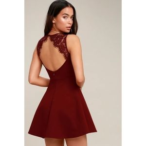 Need You Close Wine Red Lace Backless Skater Dress